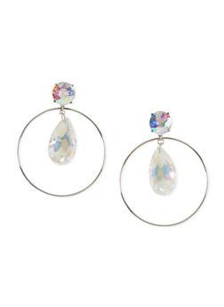 Encircled Glass Drop Post Back Earrings - 1122044097193