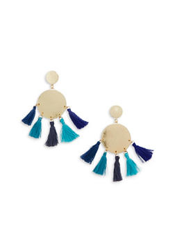 Metallic Disc Tassel Stud Earrings - 1122048635787