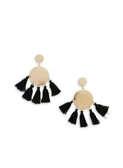 Metallic Disc Tassel Stud Earrings - 1122048635787