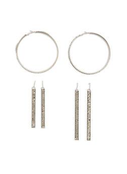 Metal Mesh Hoop and Stick Earrings - 1122057690263