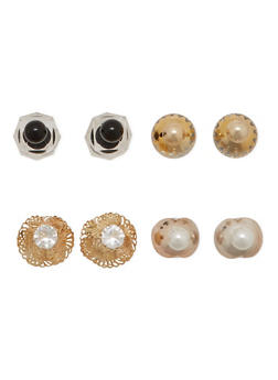 Set of 4 Assorted Front and Back Stud Earrings with Chevron Print - 1122057690773
