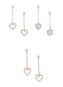 Set of 3 Metallic Rhinestone Heart Stick Drop Earrings - 1122057692410