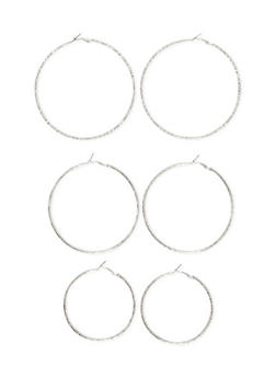 Set of 3 Etched Hoop Earrings - 1122057694509