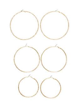 Set of 3 Etched Hoop Earrings - 1122057694509