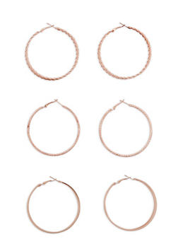 Textured Hoop Glitter Earrings Set of 3 - 1122057694815