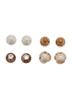 Set of 4 Assorted Ball Stud Earrings with Faux Pearls - 1122057695663