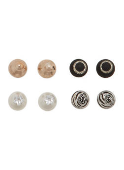 Set of 4 Assorted Front and Back Earrings with Zebra Print - 1122057695666