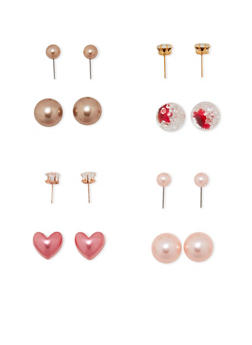 Heart Rhinestone Reversible Earrings - 1122057698885