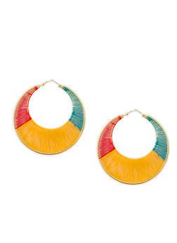 Multi Color Thread Wrapped Hoop Earrings - 1122059639007