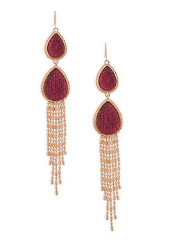 Rhinestone Tear Drop Fringe Earrings - 1122062810629