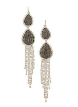 Rhinestone Tear Drop Fringe Earrings - 1122062810629