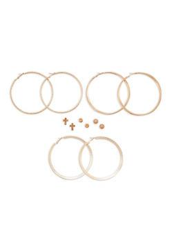Large Hoop Earrings and Stud Earrings Set - 1122062812816