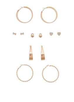 Rhinestone Stud and Twisted Hoop Earrings - 1122062812836
