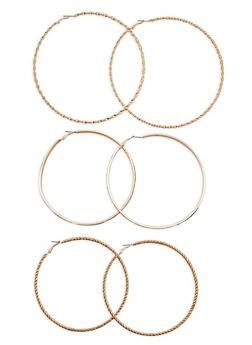 Jumbo Hoop Earrings Trio - 1122062812844