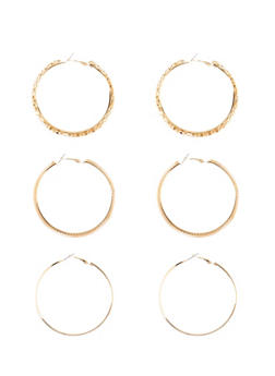 Set of 3 Assorted Glitter And Tube Hoop Earrings - 1122062814394