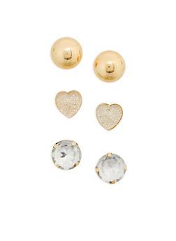 Set of 3 Oversized Stud Earrings - 1122062816297