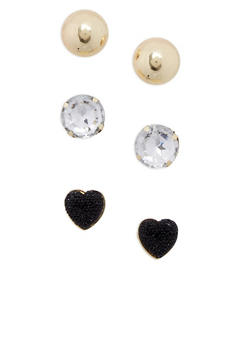 Set of 3 Oversized Stud Earrings - 1122062816297