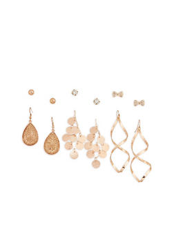 Set of 6 Assorted Drop and Stud Earrings - 1122062816646