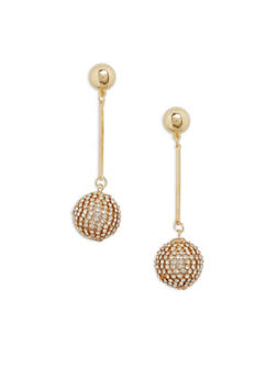 Rhinestone Disco Ball Drop Earrings - 1122062920545