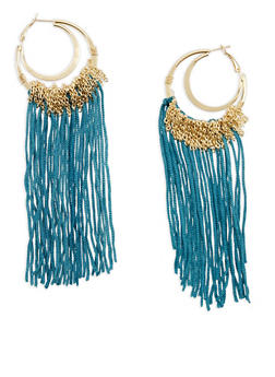 Double Gold Hoop Earrings with Chain and String Fringe - 1122062921831