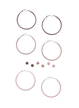 Set of Painted Stud and Hoop Earrings - 1122062921962