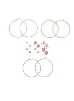 Set of 9 Stud and Hoop Earrings - 1122062922063
