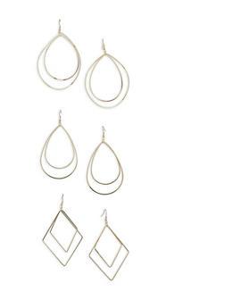 Trio of Metallic Geometric Drop Earrings - 1122062922369
