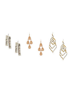 Set of 3 Assorted Drop Earrings - 1122062923199