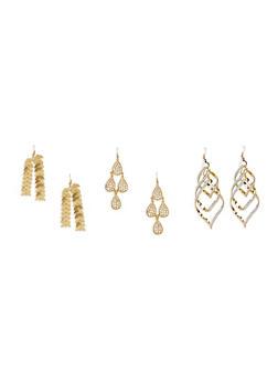 Set of 3 Assorted Drop Earrings - 1122062923199