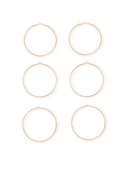 Large Textured Trio Hoop Earrings - 1122062923558