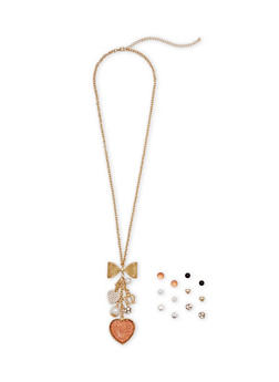 Set of 6 Assorted Stud Earrings and Necklace - 1122062925092