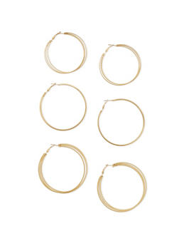 Set of 3 Hoop Earrings in Assorted Textures - 1122062925258