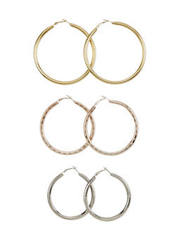Set of 3 Textured Hoop Earrings - 1122062925272