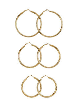 Set of 3 Textured Hoop Earrings - 1122062926157