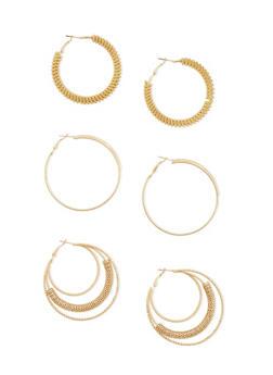Set of 3 Layered and Twist Hoop Earrings - 1122062926856