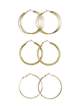 Set of 3 Textured Hoop Earrings - 1122062927490