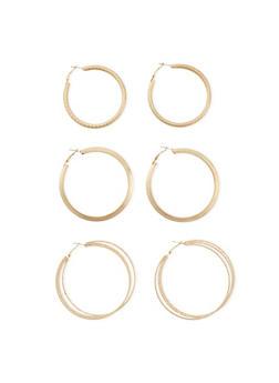 Set of 3 Assorted Hoop Earrings - 1122062927495