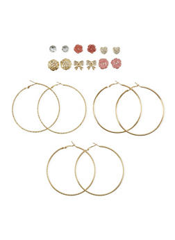 Set of 9 Textured Hoop and Stud Earrings - 1122062927919