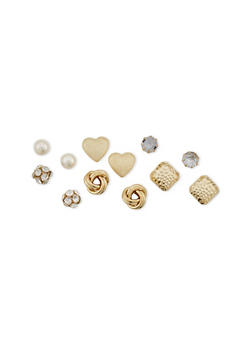 Set of 6 Assorted Stud Earrings with Knot and Rhinestone Designs - 1122062927991