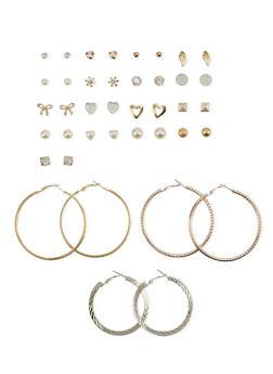 Set of 20 Assorted Hoop and Stud Earrings - 1122062928170