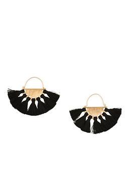 Metallic Fan Tassel Earrings - 1122062928299