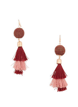 Rhinestone Bead Tassel Drop Earrings - 1122062929374