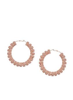 Metallic Thread Wrapped Hoop Earrings - 1122062929491