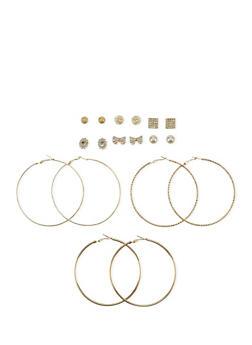 Set of 9 Assorted Stud and Textured Hoop Earrings - 1122062929918