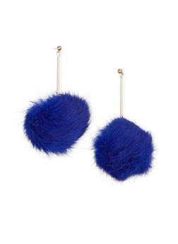Long Drop Earrings with Faux Fur Pom Pom - 1122067251002