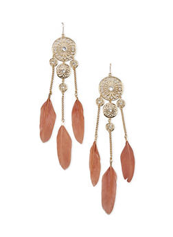 Studded Round Flower Drop Earrings with Feather Trim - 1122069752455