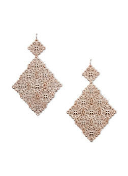 Filigree Diamond Shaped Drop Earrings - 1122070430273
