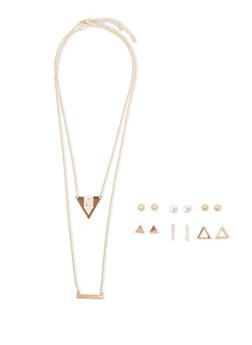 Set of 6 Assorted Stud Earrings and Layered Necklace - 1122070431200