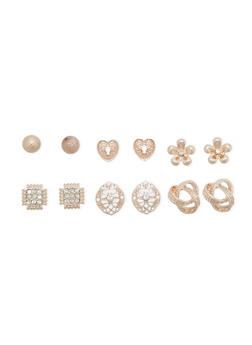 Set of 6 Assorted Stud Earrings with Heart and Flower Motif - 1122070432007