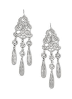 Filigree Chandelier Earrings with Crystals - 1122070434003